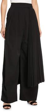 Awake Wide-Leg Pants with Pleated Half Skirt Detail