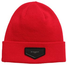 Knit Beanie Hat With Logo Detail