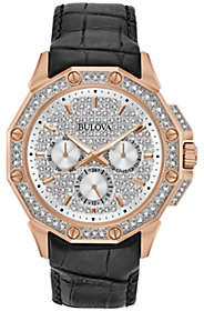 Bulova Men's Crystal Watch with Black Leather Strap