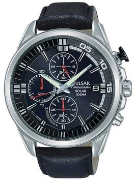 Pulsar Men's Solar Chronograph - Black Leather Strap with Black Dial - PZ6023