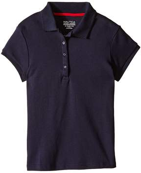 Nautica Girls Plus Short Sleeve Polo with Picot Stitch Collar Girl's Short Sleeve Pullover