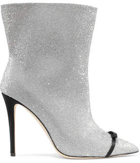 Marco De Vincenzo Bow-embellished Perspex-trimmed Swarovski Crystal And Leather Ankle Boots - Silver