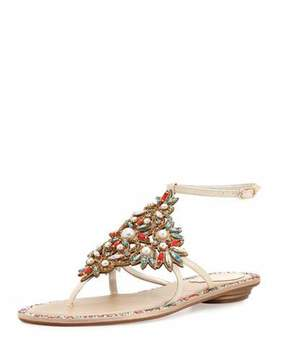 Rene Caovilla Crystal & Pearly Ankle-Wrap Thong Sandal, Cream/Red/Aquamarine