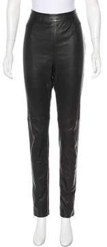 Christian Dior Zip-Accented Leather Leggings