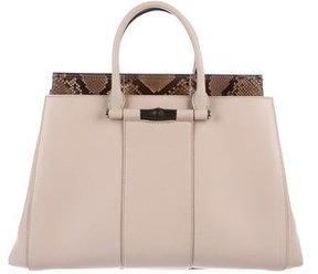 Gucci 2015 Python-Trimmed Lady Bamboo Top Handle Bag - NEUTRALS - STYLE