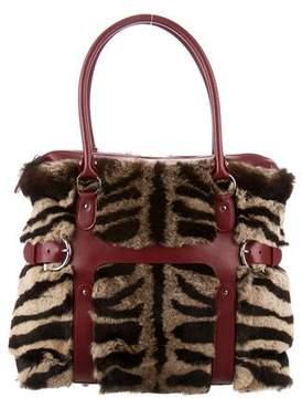 Salvatore Ferragamo Mink Leather-Trim Bag