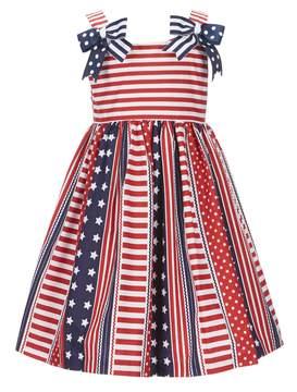 Bonnie Jean Little Girls 2T-6X Americana Stars & Stripes Bow Dress