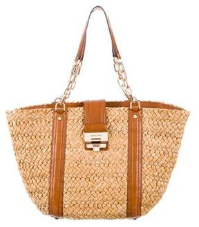 MICHAEL Michael Kors Leather-Trimmed Straw Tote