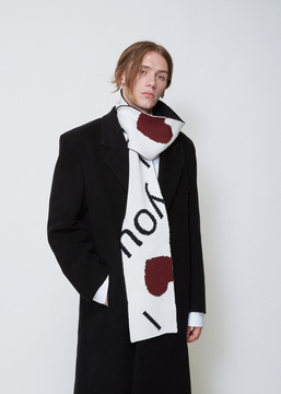 Raf Simons Off White / Dark Red I Love You Scarf