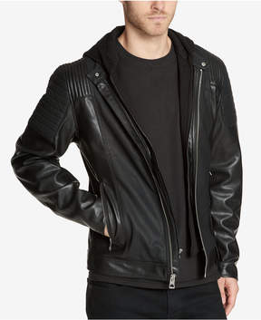 GUESS Men's Faux-Leather Moto Jacket with Hooded Inset