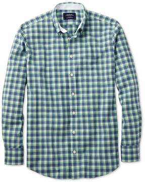 Charles Tyrwhitt Extra Slim Fit Blue and Green Check Washed Oxford Cotton Casual Shirt Single Cuff Size Small