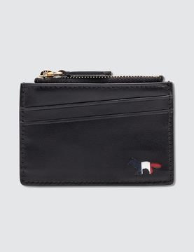 Maison Kitsune Tricolor Zipped Card Holder Leather