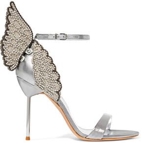 Sophia Webster Evangeline Crystal-embellished Lamé Sandals - Silver