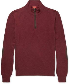 Isaia Suede-Trimmed Cashmere Half-Zip Sweater