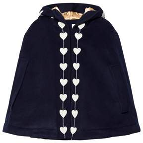 Rachel Riley Navy Heart Detail Hooded Cape