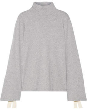 Clu Bow-embellished Cotton-jersey Turtleneck Top - Gray