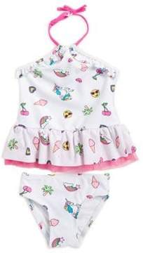 Flapdoodles Baby Girl's Two-Piece Patch Graphic Swimsuit
