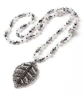 Amrita Singh Silvertone Noho Leaf Necklace