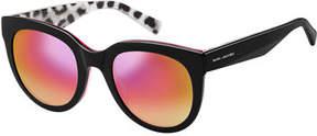 Marc Jacobs Round Mirrored Sunglasses w/ Glittered Interior