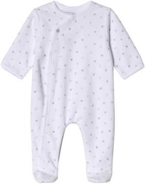 Absorba White Star Print Velour Babygrow