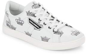 Dolce & Gabbana Men's Printed Leather Low Top Sneakers