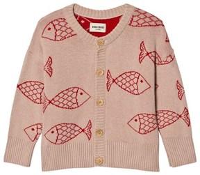 Bobo Choses Light Pink Shoaling Fish Knitted Cardigan