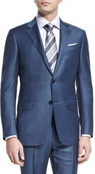 Ermenegildo Zegna Sharkskin Silk-Blend Two-Piece Suit, Blue