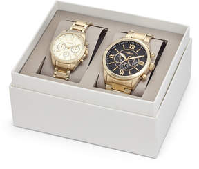 Fossil His and Her Chronograph Gold-Tone Stainless Steel Watch Gift Set