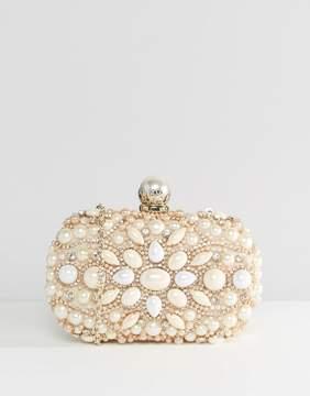 ALDO Beaded Box Clutch With Pearl Clutch Bag