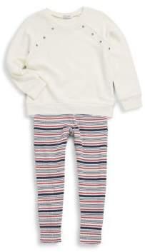 Splendid Little Girls Two-Piece Grommet Sweatshirt & Striped Leggings
