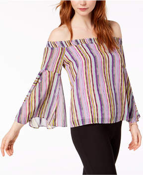 Bar III Over-The-Shoulder Flared-Sleeve Blouse, Created for Macy's