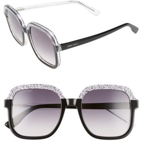 Jimmy Choo Women's 53Mm Glitter Frame Sunglasses - Black Glitter/ Grey