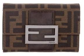 Fendi Leather-Trimmed Zucca Wallet