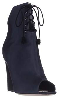 Christian Dior Brooklyn Lace-up Peep-toe Ankle Booties, Midnight.
