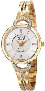 Burgi Silver Diamond Dial Gold-tone Steel Case Ladies Watch