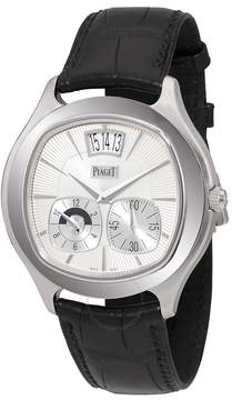 Piaget Emperador Coussin Silver Dial Black Leather Automatic Men's Watch