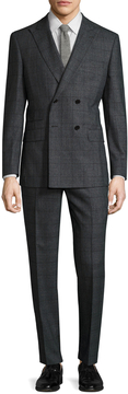 English Laundry Men's Windowpane Double Breasted Peak Lapel Suit