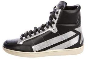 Saint Laurent Star Leather High-Top Sneakers