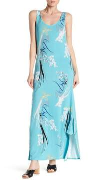 Joan Vass Printed Scoop Neck Maxi Dress