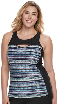Free Country Plus Size Bust Enhancer Peek-a-Book Tankini Top