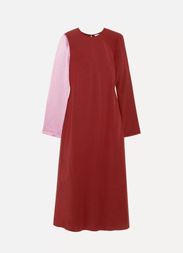 Tibi Two-tone Silk-satin And Crepe Midi Dress - Claret
