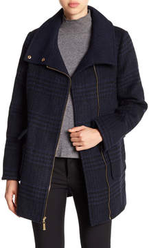 Ellen Tracy Plaid Asymmetrical Moto Coat