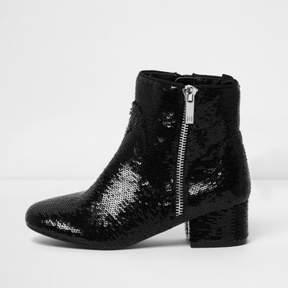 River Island Girls black sequin embellished ankle boots