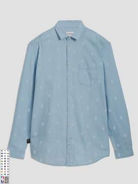 Frank and Oak Cleveland Cavaliers Printed Summer-Denim Shirt in Light Indigo