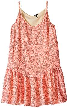 Ikks Reversible Dress with Braided Straps & Drop Waist All Over Print Reverses to Yellow Swiss Dot (Little Kids/Big Kids)