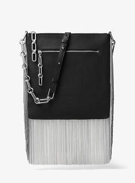 Michael Kors Larissa Medium Chain-Fringed French Calf Messenger - BLACK - STYLE