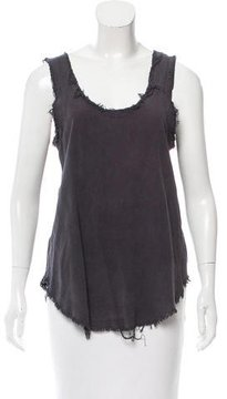 Black Crane Silk Sleeveless Top