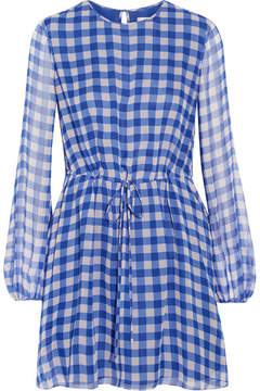 Diane von Furstenberg Gingham Silk-chiffon Mini Dress - Blue