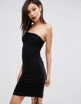Club L Slinky Bandeau Ruched Detail Dress