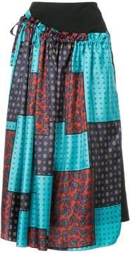 ASTRAET patch-work midi skirt